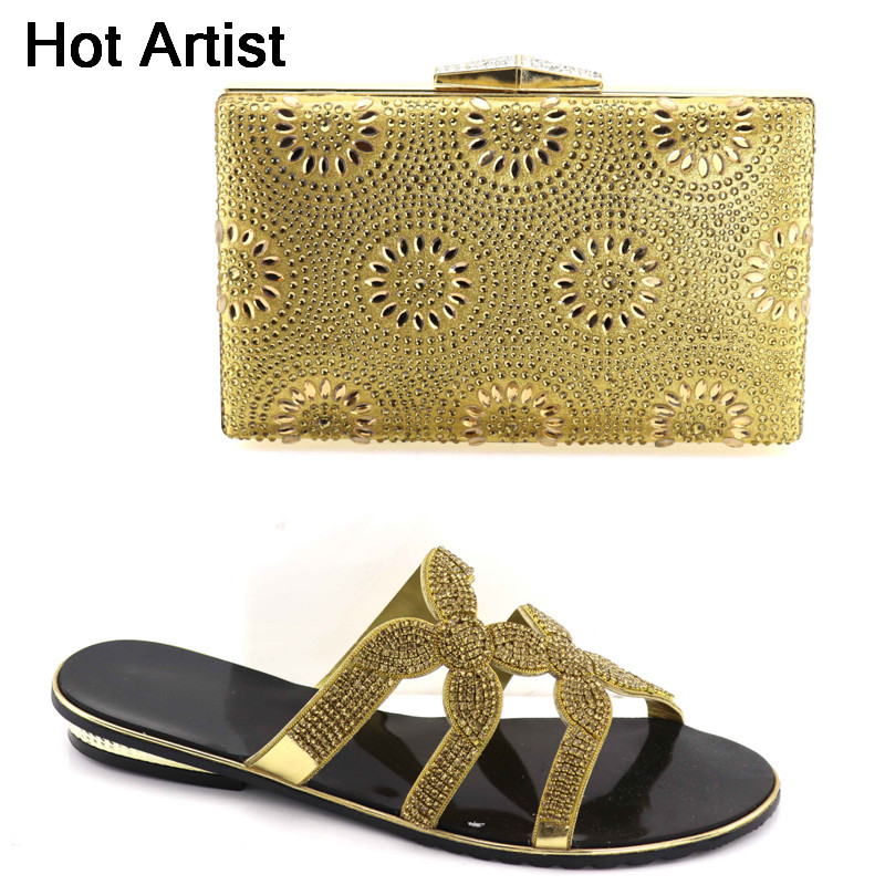 Hot Artist 2018 New African Woman Rhinestone Shoes And Bag Set Summer Fashion Low Heels Shoes And Bag Set For Wedding YK-012