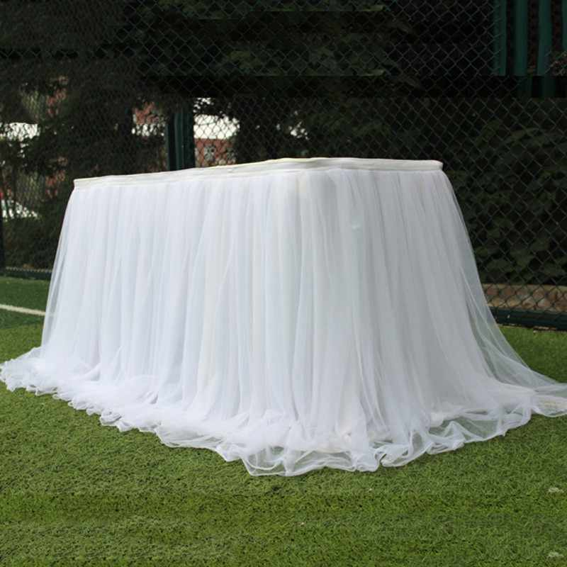 Candy Colors Wedding Table Veils Tablecloth Table Skirt Tutu Tulle Party Tablecloth Textile Decoration for Home Outdoor