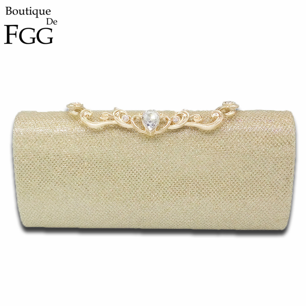 Boutique De FGG Shiny Glitter Women Fashion Day Clutches Gold Metal Evening Bag Wedding Party Handbag Bridal Clutch Purse excelsior new arrival day clutches bag purse clutch handbags shiny ultrathin women evening party bags gold sequins envelope bag