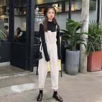 Autumn Women Corduroy Jumpsuits Lace Up Vintage Sleeveless Overalls Rompers Casual Drawstring Loose Paysuits