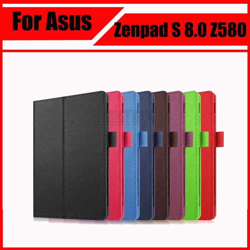 3 in 1 Litchi PU Leather Case Stand Slim Cover for Asus Zenpad S 8.0 Z580 Z580C Z580CA 8 inch Tablet PC + Stylus + Screen Film цена и фото