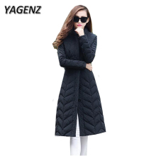 YAGENZ High Quality Jackets New Winter Women 2017 Fashion Slim Down Cotton Long Jacket Plus size Winter Warm Female Overcoat 4XL