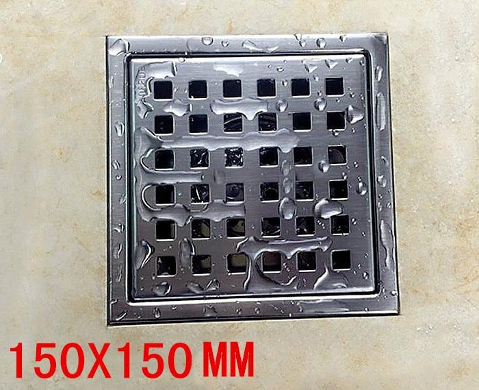 купить 150 x 150mm Tile Insert Square Floor Waste Grates Shower Drain 304 stainless steel anti-odor floor drain DR059 по цене 1274.95 рублей