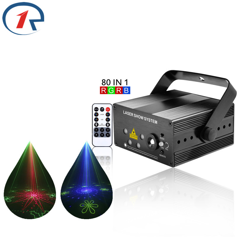 ZjRight IR Remote 80 patterns Red Green Blue Laser Stage Light mix Blue Led lights Xmas decor gala party ktv bar disco DJ lights rg mini 3 lens 24 patterns led laser projector stage lighting effect 3w blue for dj disco party club laser