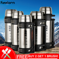 Keelorn Stainless Steel Cups 1200ml 1600ml 1800ml 2000ml 304 stainless steel high vacuum travel pot strap vacuum flask Cups
