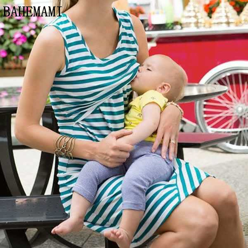 BAHEMAMI Pregnant Women Summer Sleeveless Dress Striped Dresses Breastfeeding And Nursing Women Dresses Women's Tops Vestidos casual scoop collar sleeveless color block striped sundress for women