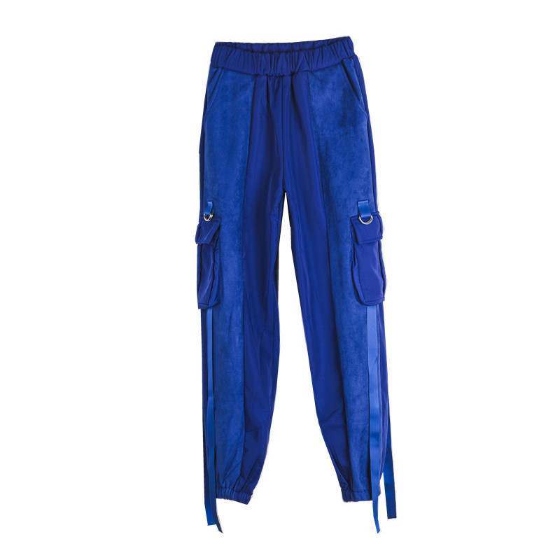 Sólido Monos Pies Flojo Casuales Costura Cinta rojo Bolsillo Pantalones Cintura azul Jasmine Calientes Negro qCwf1gn