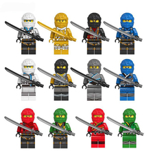 цены на 12Pcs/set New Compatible LegoINGlys Ninja Kai Jay Lloyd Minifigure Bricks Building Blocks Figures Toys For Boys Gift  в интернет-магазинах