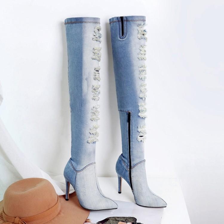 De Découpes Ciel Denim Pour Pointu Supérieure Bleu Mode Bottes Gladiateurs Rétro Talons Zapatos Bout Hauts Pu Clair Tissu Femmes Mujer Longues AcRL3q5j4