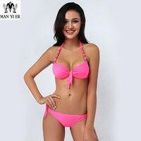 2015 Women Hot Bikini Push Up Swimwear Explosion Models Bandeau Biquini Vintage Brand Name Women Bikini