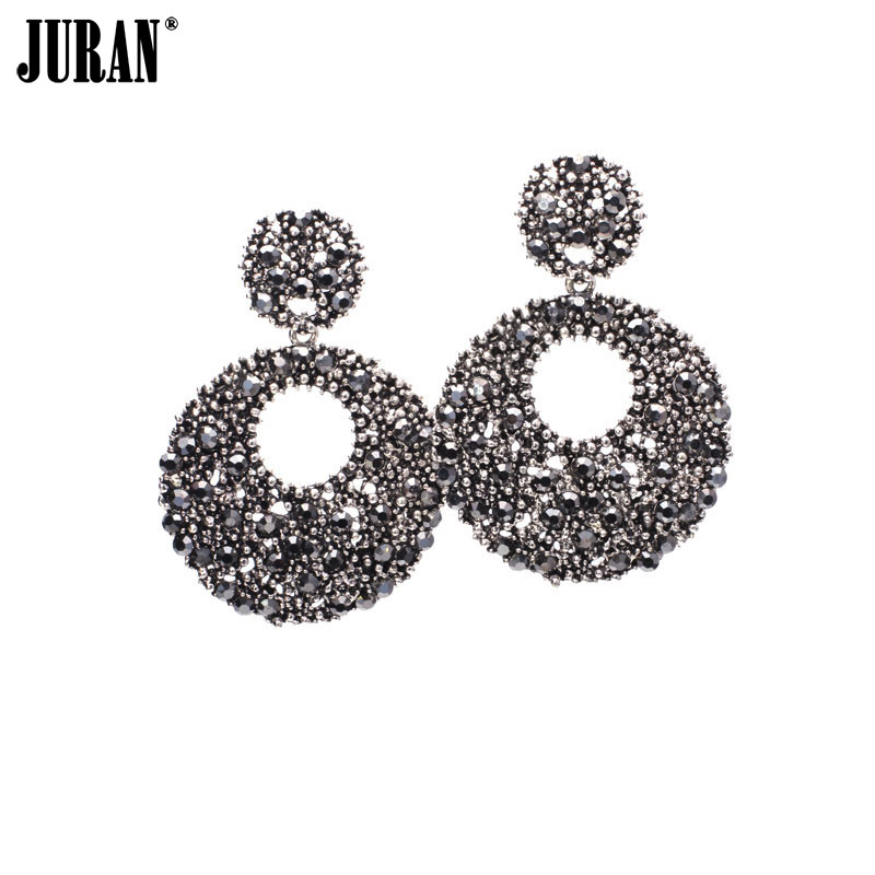 Glänzende hohle runde große Baumel-Kristallohrringe Einzigartiger - Modeschmuck - Foto 1