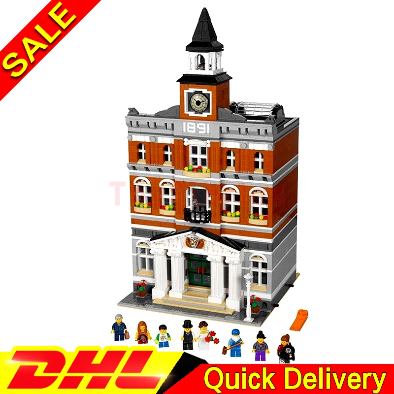 Lepin 15003 2859Pcs Street Town Hall Building Set City Street Blocks Model Self-Locking Bricks legoings Toys Clone 10224 lepin 15003 town hall lepin 15009 pet shop supermarket city street model building blocks bricks lgoings toys clone 10224 10218