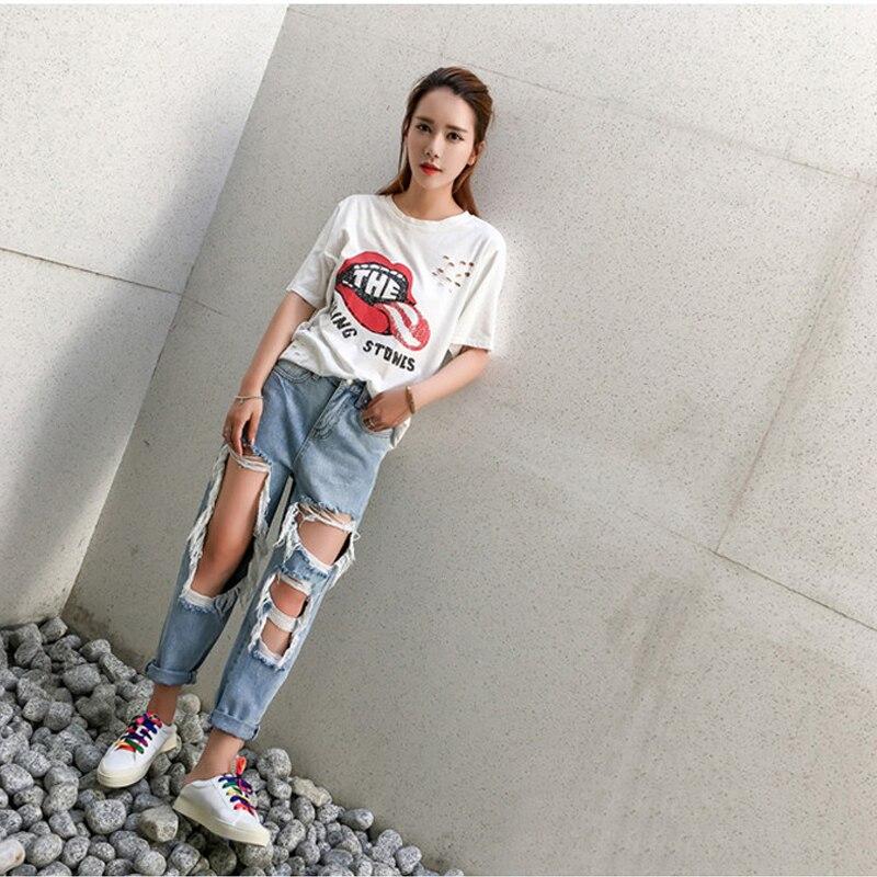 Plus Size Big Holes Destroyed Jeans For Women High Waist Boyfriend Jeans Distressed Ripped Baggy Jeans Women Broken Denim Pants