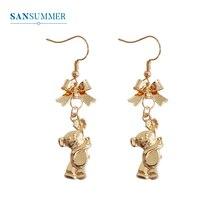 SANSUMMER Women Drop Earrings 2019 Cute Little Bear Bow Long Fashion Jewelry Gold Silver Trendy Dangle 340