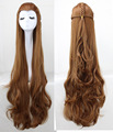 Lord of The Rings Hobbit Elf Captain Tauriel 120 CM Long Wavy Brown Cosplay Hair Wig For Women