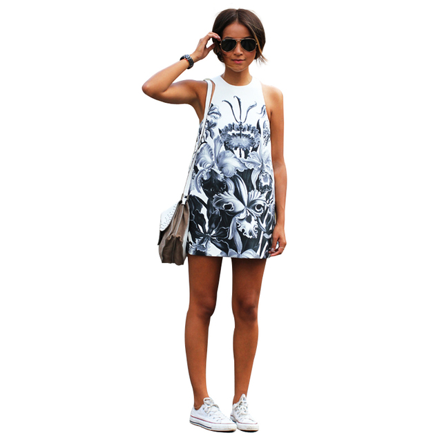 e6e2a6c4acd5 New Summer Print Dresses Women Sleeveless Short Flower Dress Female  Vestidos Casual Floral Mini Dress FA