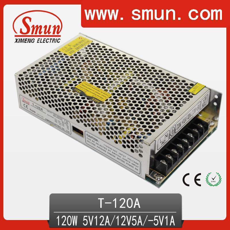 High Quality Triple Output Switching Power Supply 120W 5V 12V -5V DC Output LED Driver Indoor Led Lighting Use 90w led driver dc40v 2 7a high power led driver for flood light street light ip65 constant current drive power supply