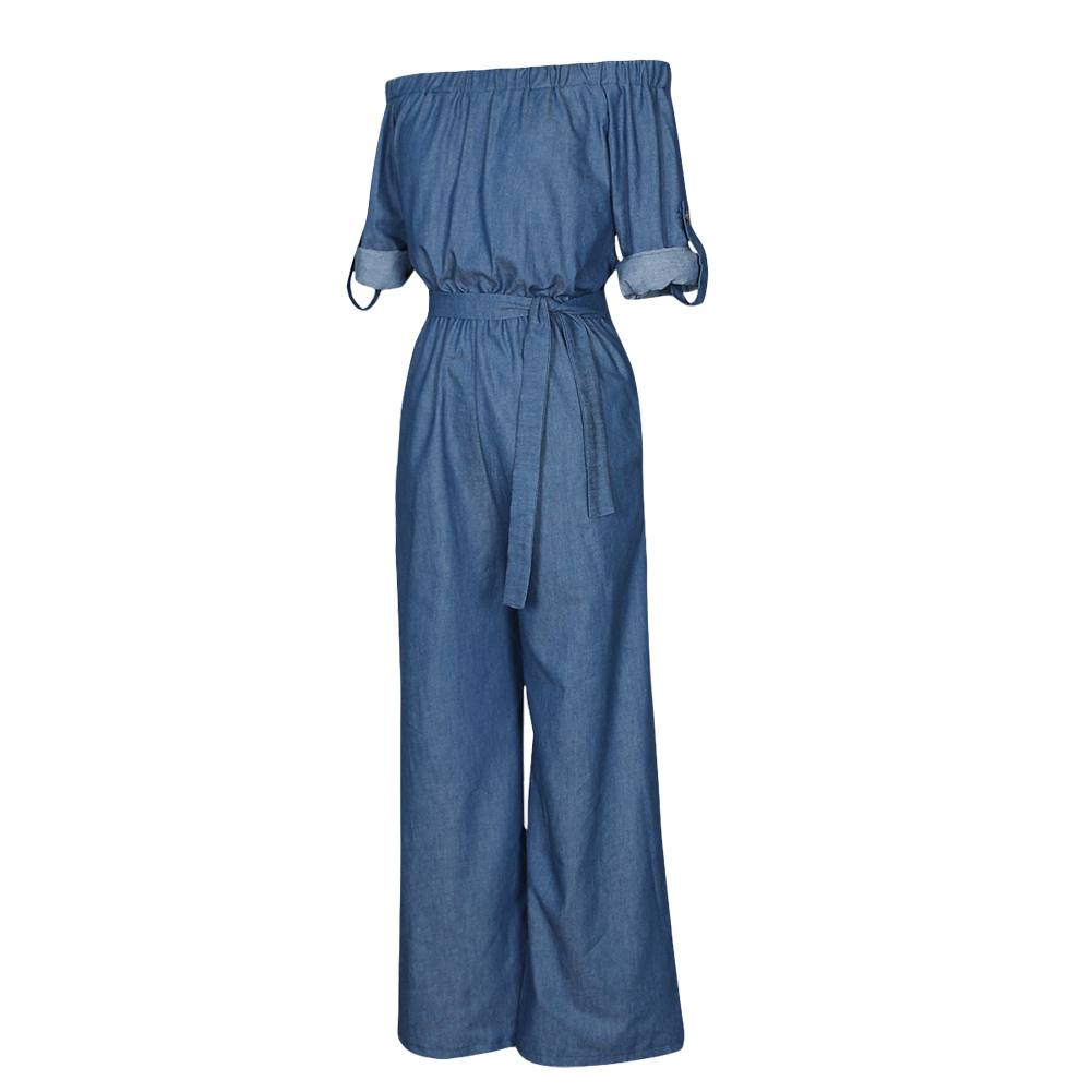 f13491d6b4 Sexy Women Denim Jumpsuit Off Shoulder Rompers Belted Wide Leg Pants Long  Trousers Overalls Ladies Bodysuit New Female Playsuit-in Jumpsuits from  Women s ...