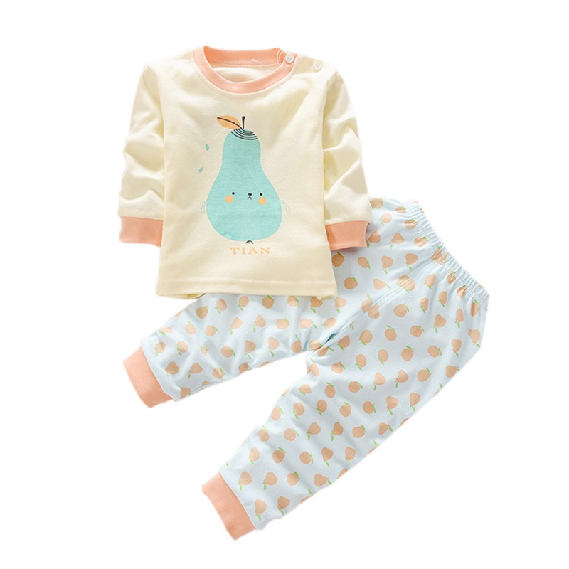 2 pcs/SET Toddler Infant Baby Kid Long Sleeve Shirt+Pants Boy Girl Sportsuit Sleepwear Set kid girl lace collar long sleeve pullover cotton base shirt top toddler 2 7y m78 new