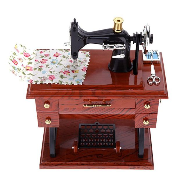 Hot Sewing Machine Music Exquisite Box Musical Vintage Look Retro Simple Musical Sewing Machine Music Box Vintage Look