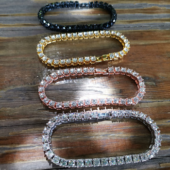 Hip hop Bling Iced Out Cubic Zirconia Bracelet Tennis Chain Bracelets