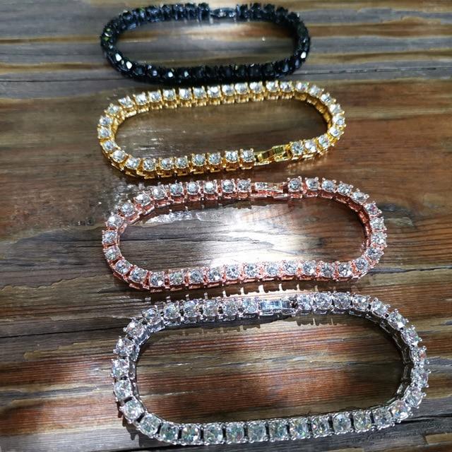 Hip hop Bling Iced Out Cubic Zirconia Bracelet Tennis Chain Bracelets