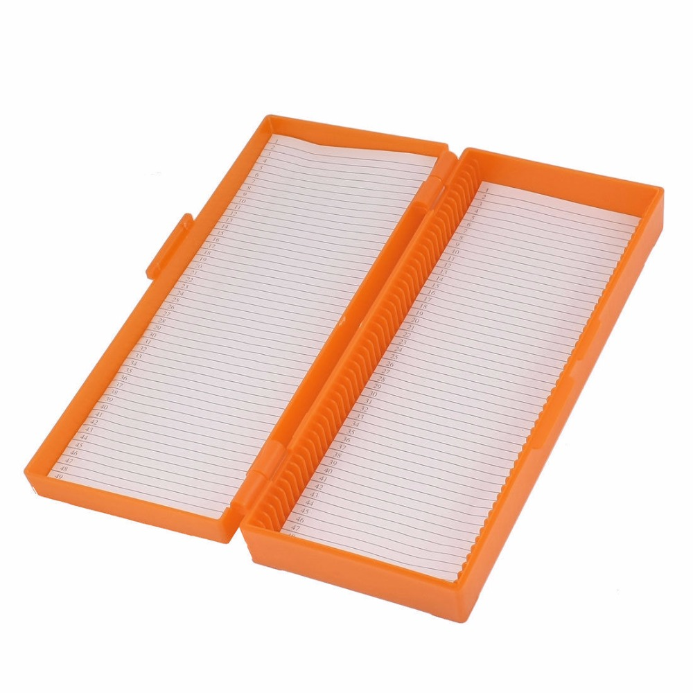 Orange  wihte blue green Plastic Shell 50 Slots Rectangular Microscope Glass Slide BoxOrange  wihte blue green Plastic Shell 50 Slots Rectangular Microscope Glass Slide Box