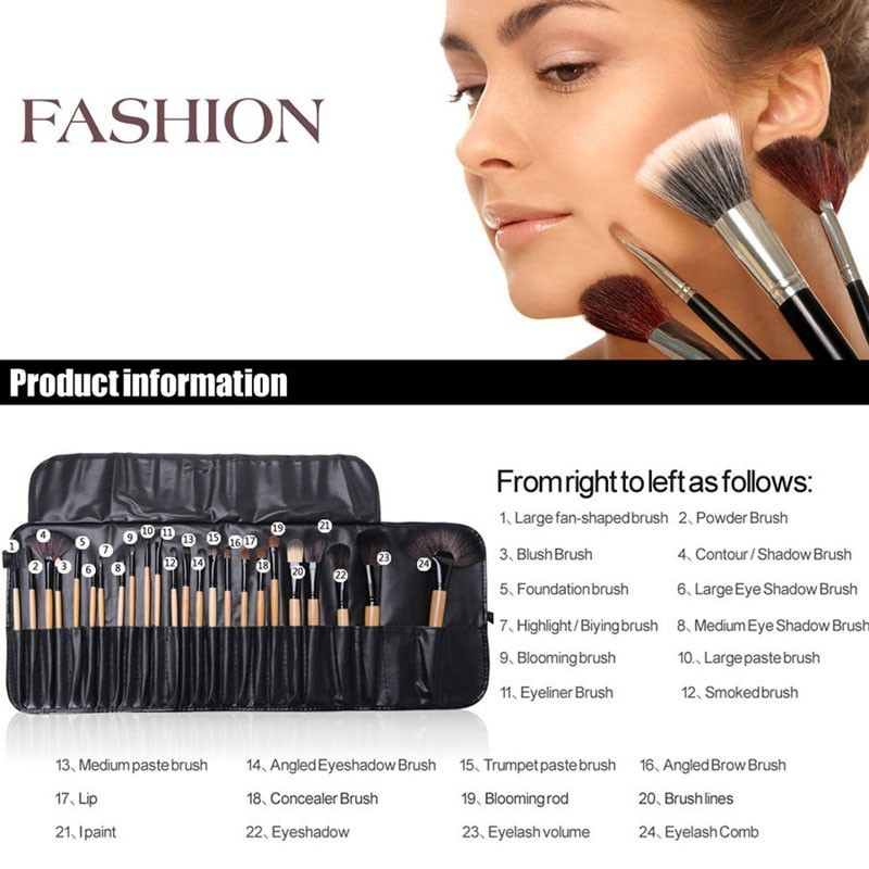 24 Pcs Makeup Brush Sets with Bag for Blending Foundation and Powder Suitable for Contouring and Highlighting 8