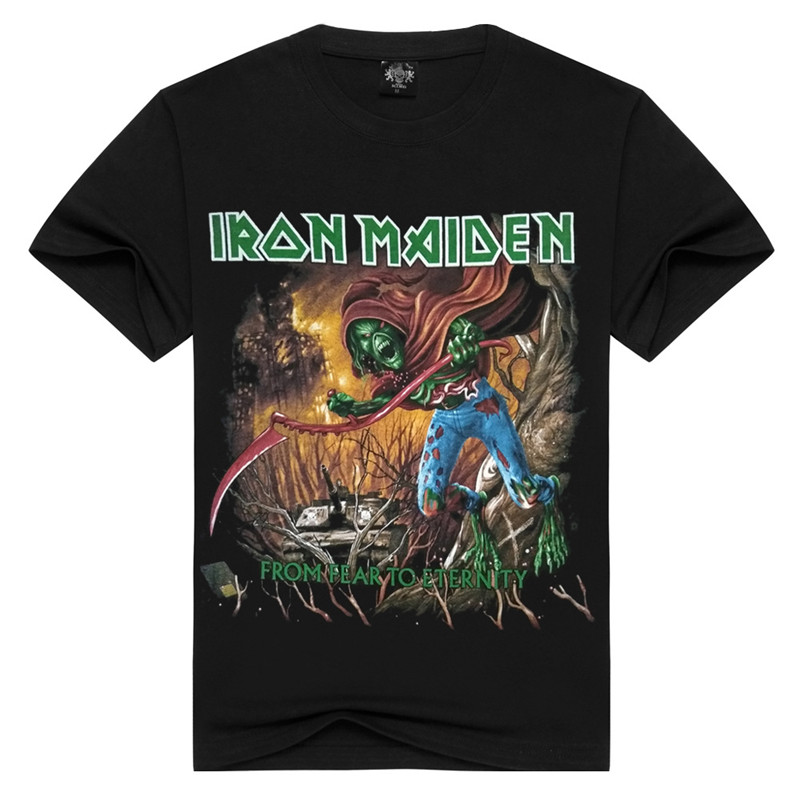 Iron Maiden Brand Black t shirt New Style Heavy Metal Streetwear Men's T-shirts Cotton Casual Short Sleeve TOP Tees LL079