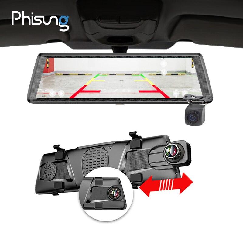 Phisung E05 10 IPS 4G cameras dvrs pour voiture Android miroir avec vue arrière caméra ADAS Bluetooth WIFI 1080 p camara automovil miroir navigateur