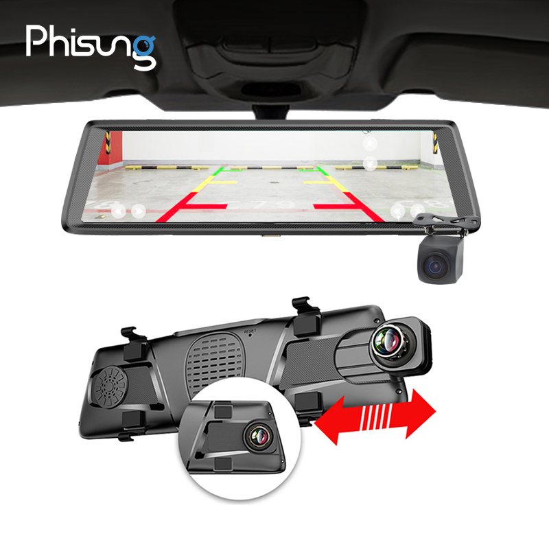 Phisung E05 10 IPS 4g voiture dvr Android miroir avec vue arrière caméra ADAS Bluetooth WIFI 1080 p camara automovil miroir navigateur
