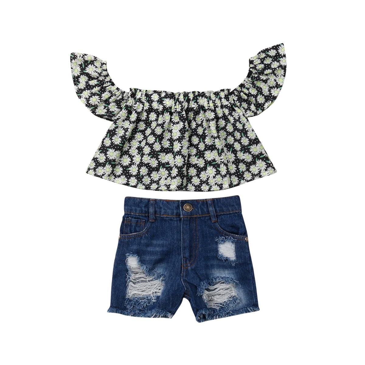 2abd7f45580f5c5 Летний топ с открытыми плечами и цветочным принтом для маленьких девочек  2-7 лет, рваные джинсовые шорты, джинсы, комплект из 2 предметов, комп.
