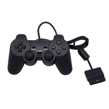 Black Wired Controller 1.8M Double Shock Joystick Jarak Jauh Gamepad Joypad untuk PlayStation 2
