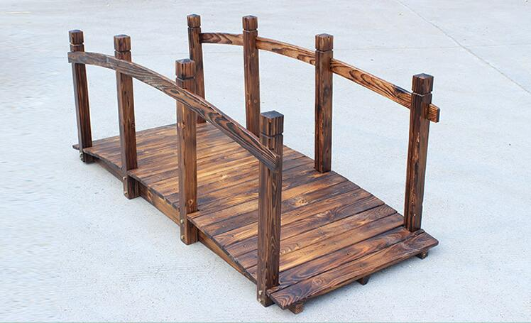 Wooden Bridge Stained Finish Decorative Solid Wood Garden