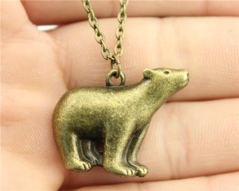 product WYSIWYG vintage antique bronze plated 23*30mm pola bear pendant necklace