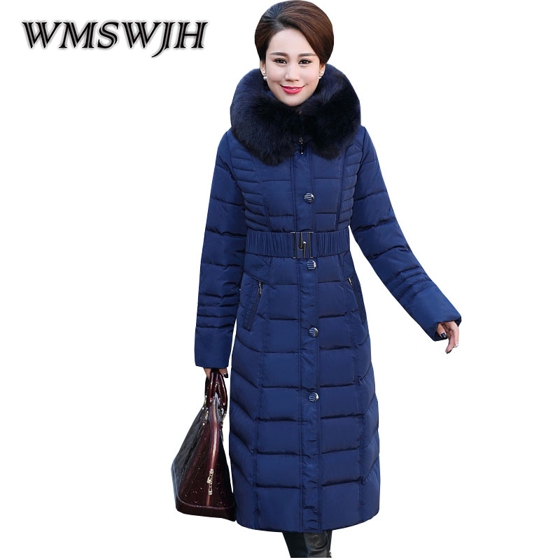 New Woman quilted Jackets Plus Size Winter Parkas Female 2017 Slim Defined Waist Thicken outerwear Fur Collar Hooded Long Coat 2015 new hot winter thicken warm woman down jacket coat parkas outerwear hooded loose straight luxury brand long plus size xl