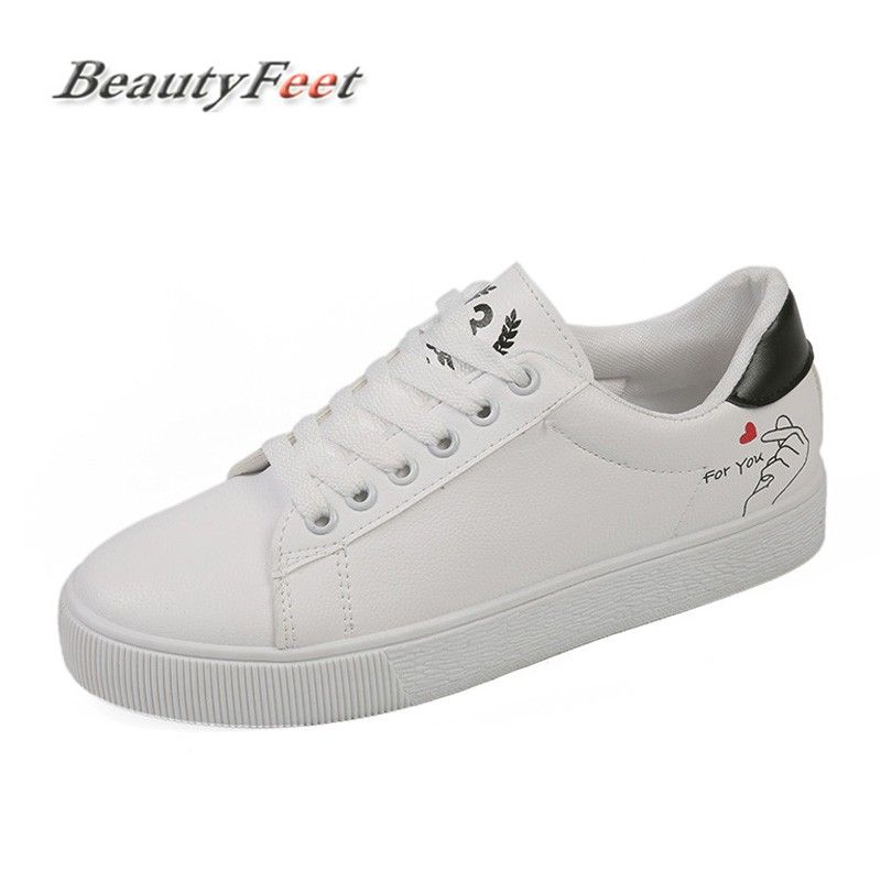 New Womens Shoes Spring Fashion White Sneakers Women Leather Women Vulcanized Shoes Casual Breathable Solid Color BeautyFeet