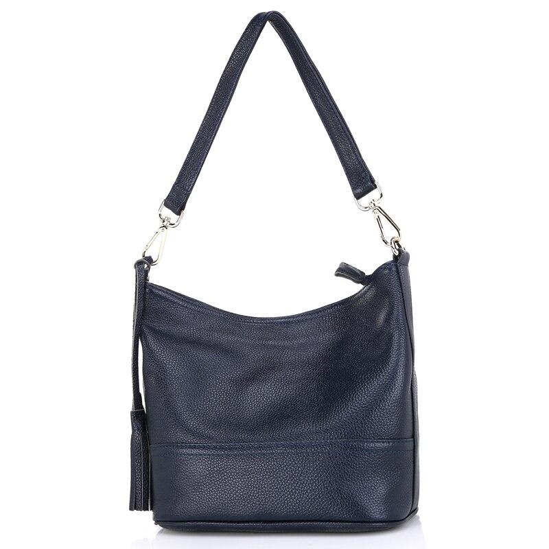 Zency 100% натуральная кожа модная женская сумка на плечо с кисточкой Праздничная сумка мессенджер через плечо Сумочка в классическом стиле сум... - 3