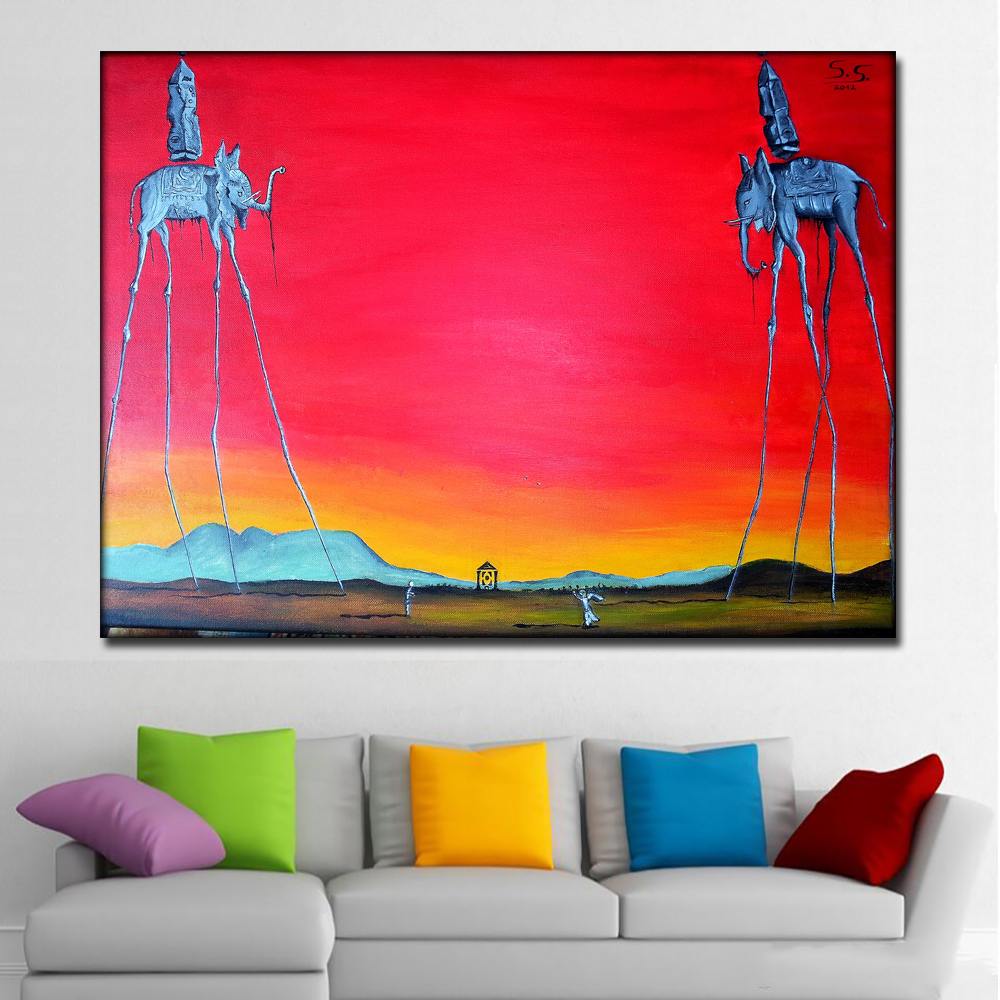 Us 4 43 49 Off Salvador Dali Elephant Long Legs Paintings Red Background Canvas Printed Wall Art Prints Poster For Living Room Home Decor In