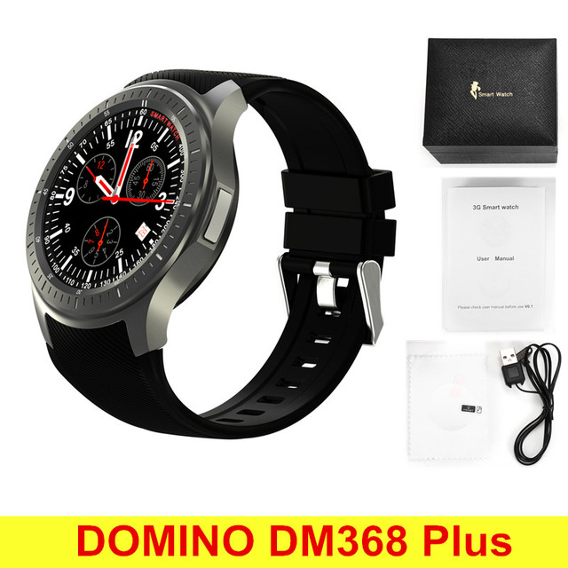 Domino DM368 плюс 3G GPS SmartWatch телефон Android 5.1 MTK6580 4 ядра 1.0 ГГц 1 ГБ Оперативная память 16 ГБ ШАГОМЕР Сердце скорость Смарт-часы