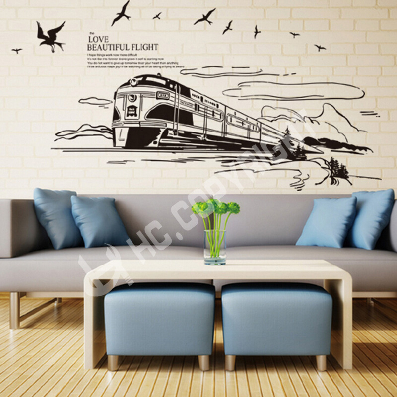 1pc Design High Speed Rail Modern Train Wall Stickers Art