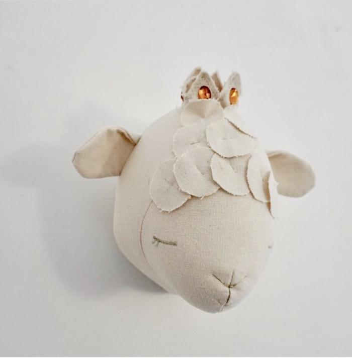 5 моделей голова животного Декор стены/кукла олень украшение стены ягненка куклы Детская комната настенные украшения Рождество - Цвет: Sheep princess