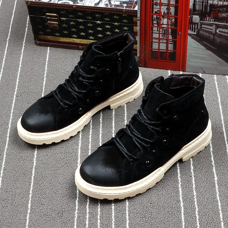 Bottes Chaussures Cheville Automne Martin Printemps Cuddlyiipanda Haute gris Mode Plate forme Top Hommes Casual Noir Qualité Hombre Botas De 1WWBI