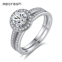 Mecresh 2pcs Set 925 Sterling Silver Engagement Ring Set For Women Luxury Clear CZ Two Band