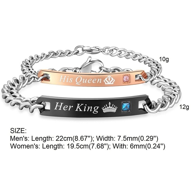 King and Queen Lovers Stainless Steel Bracelet Customizable