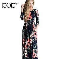 Kuk 5 Color Long Dress Floral Summer Maxi Dress Long Sleeve 3XL Plus Size Vestido Longo