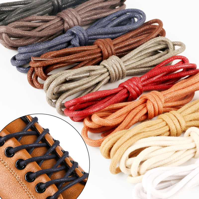 1Pair 80CM 120cm Multi Color Cotton Waxed Round Cord Dress Shoelaces Bootlaces For Leather Oxford Brogues