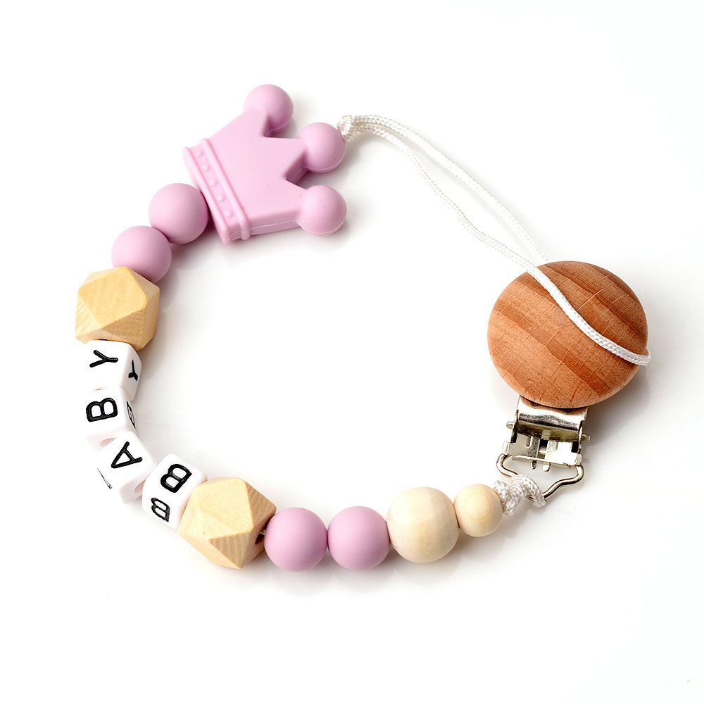 Image 4 - Raise Young Personalised Name Baby Pacifier Clips Wooden Pacifier Chain Silicone Dummy Holder Attache Tetine Personnalise-in Pacifiers Leashes & Cases from Mother & Kids