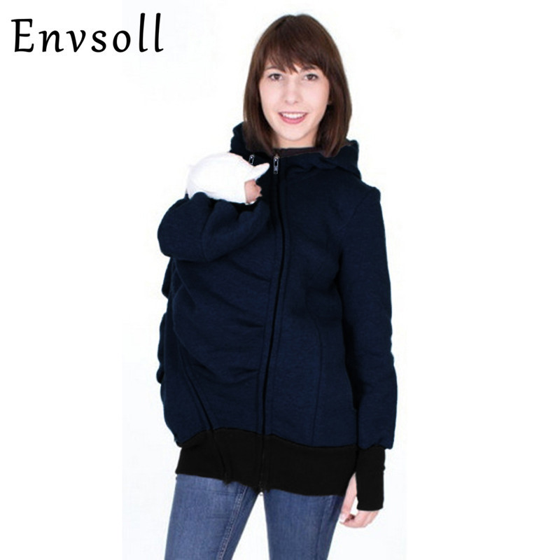 Envsoll Plus Size S-2XL Parenting Child 2017 Autumn Winter Three Features Mother Kangaroo Hoodie Women Pullovers Mother Clothes plus size funnel collar maxi asymmetric hoodie