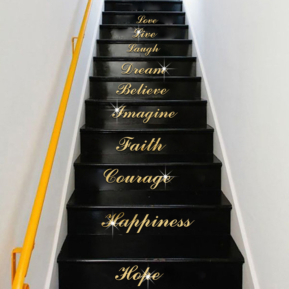 qt 0117 stairs wordart love live laugh mirrored decor wall stickers waterproof ebay. Black Bedroom Furniture Sets. Home Design Ideas